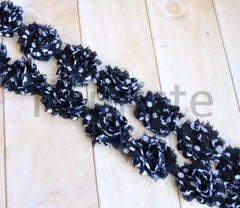 Petite Patterned Shabby Rose Trim-Black Swiss Dots