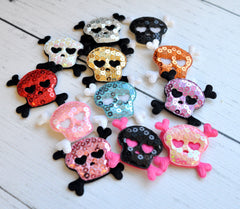 Sequined Skull Appliques-Pick Your Color