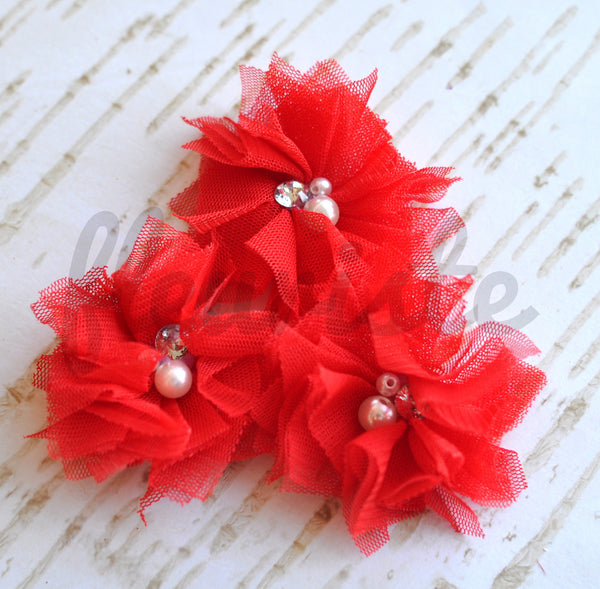 Mini Tulle & Pearl Flowers-Pick Your Color