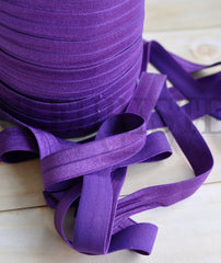 "Solid 5/8"" Foldover Elastic by the Yard-Plum"