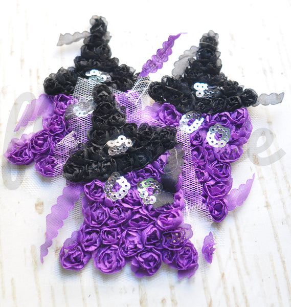 Halloween Shabby Applique - Happy Purple Ghost