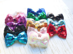 Flat Sequined Bows - Pick Your Color