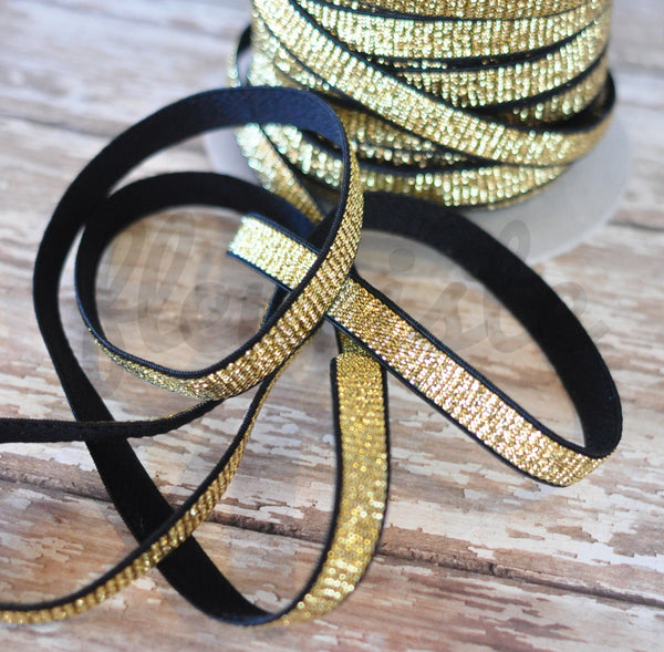 "3/8"" Gold & Black Elastic - By the Yard"