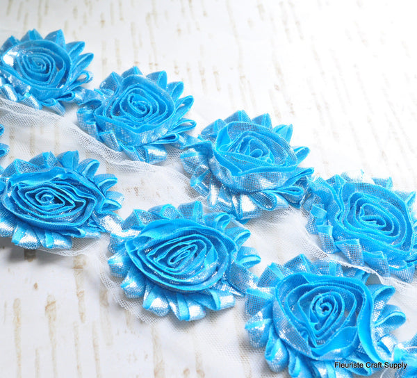 Metallic Shabby Rose Trim - By the Yard - Light Blue