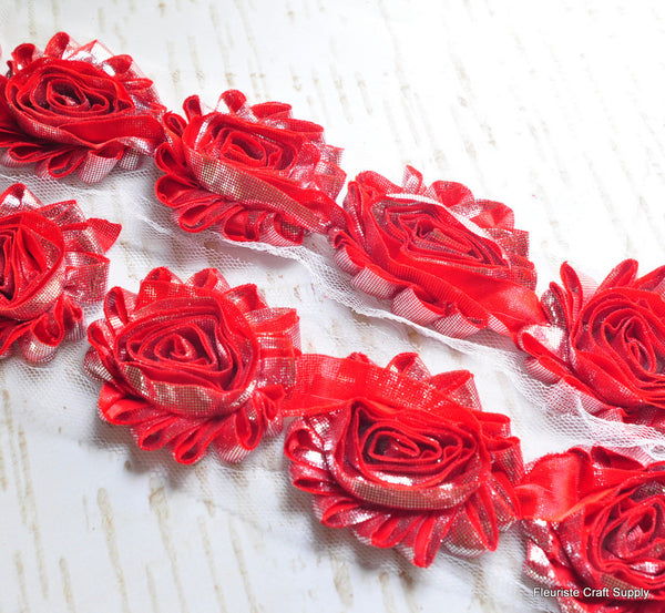 Metallic Shabby Rose Trim - By the Yard - Red/Silver