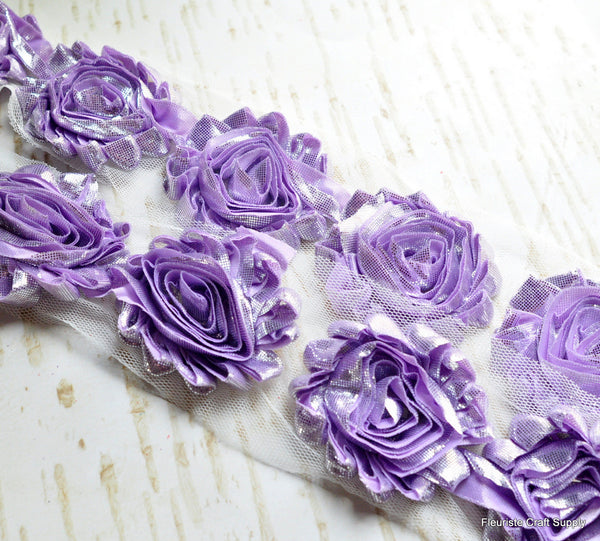 Metallic Shabby Rose Trim - By the Yard - Lavender/Silver