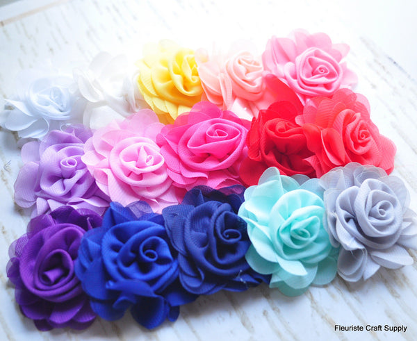 Rosette Centered Chiffon Flower - Pick Your Color