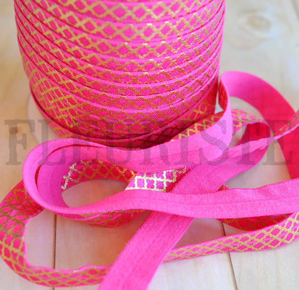 Metallic Printed Foldover Elastic-Hot Pink with Tiny Quatrefoil