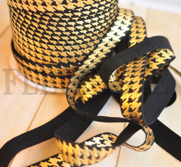 Metallic Printed Foldover Elastic-Black with Gold Houndstooth