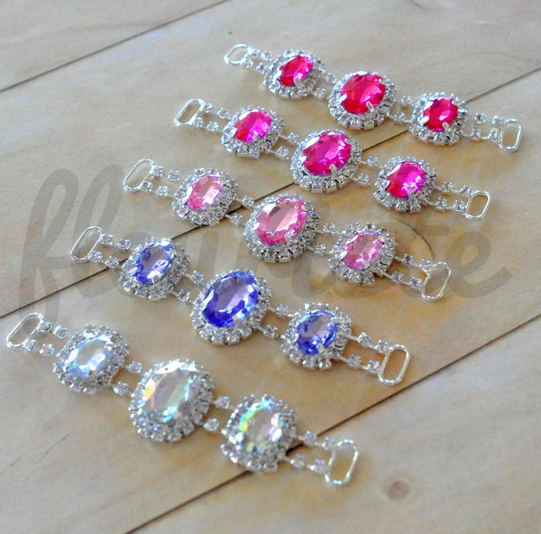 Rhinestone Connector - Triple Jewel Connector - Pick Your Color