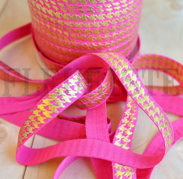 Metallic Printed Foldover Elastic-Hot Pink with Gold Houndstooth
