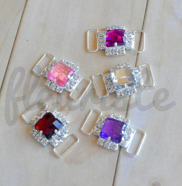Rhinestone Connector - Single Jewel Connector - Pick Your Color