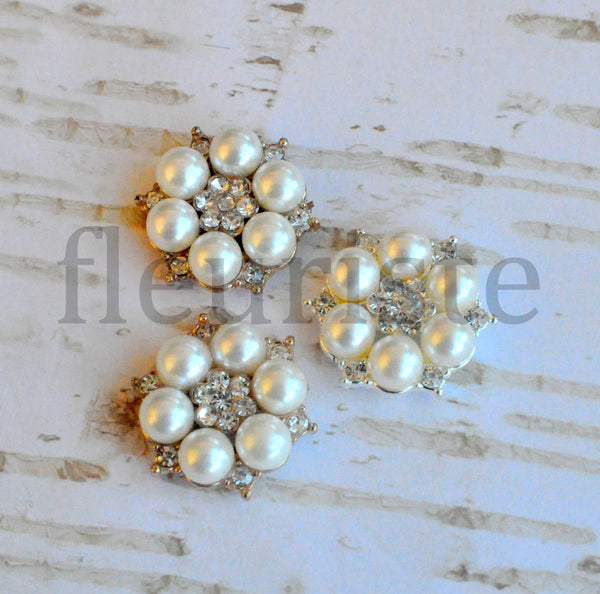 25mm Pearl and Rhinestone Button