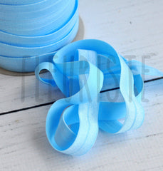 "Solid 5/8"" Foldover Elastic by the Yard-Sky Blue"