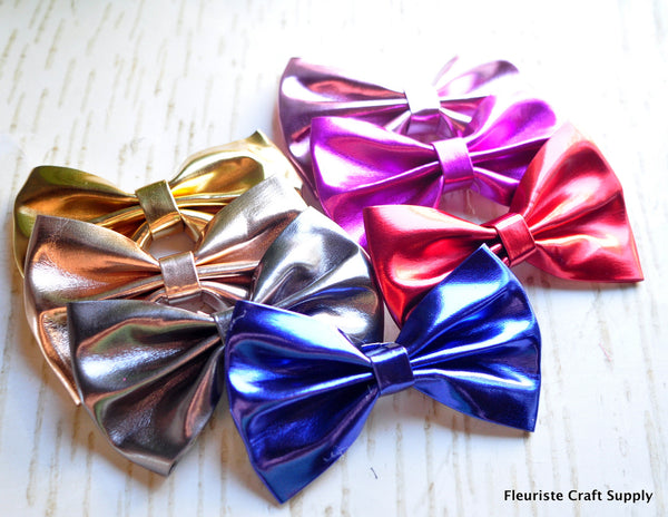 "4"" PLU Leather Bow - Pick Your Color"