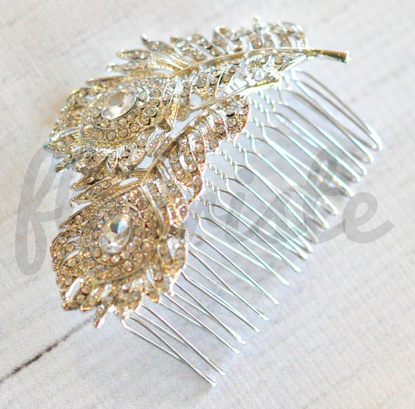 Bridal Comb - Ready to Wear - Peacock Feathers
