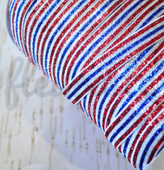 "Striped Glitter Elastic by the Yard - 5/8"" Width - Red/White/Blue/White/Red"