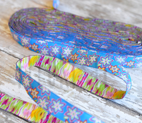 "Woven Ribbon-Single Yard-Blue Daisies-5/8"" Width"