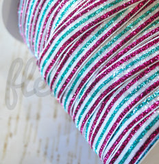 "Striped Glitter Elastic by the Yard - 5/8"" Width - DkHP/Teal/White/Teal/DkHP"
