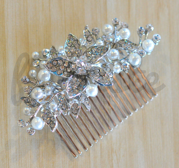 Bridal Comb - Ready to Wear - Flower with Pearls