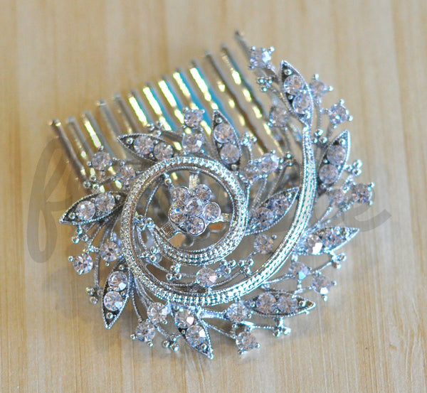 Bridal Comb - Ready to Wear - Bejeweled Nautilus