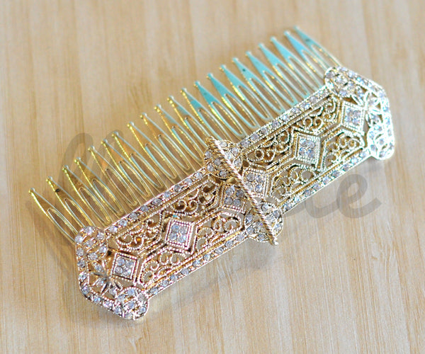 Bridal Comb - Ready to Wear - Art Deco Banner in Gold