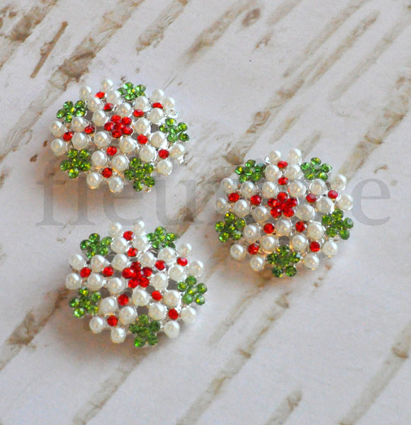 27mm Pearl, Jewel and Rhinestone Button - Christmas Edition