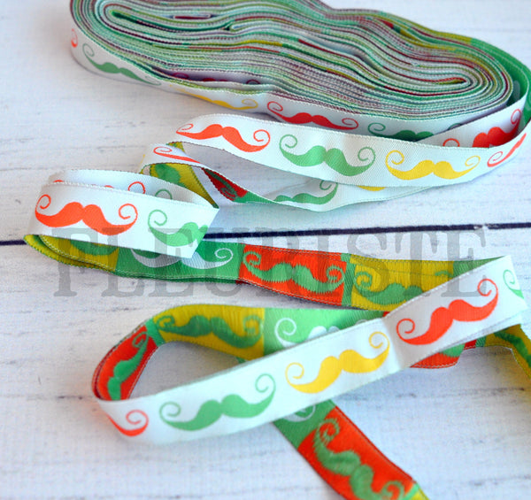 "Woven Ribbon-Single Yard-Mustaches-5/8"" Width"
