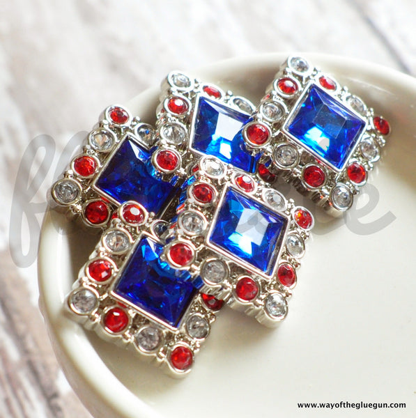 25mm Square Red White & Blue Button
