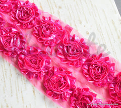 Metallic Shabby Rose Trim - By the Yard - Hot Pink