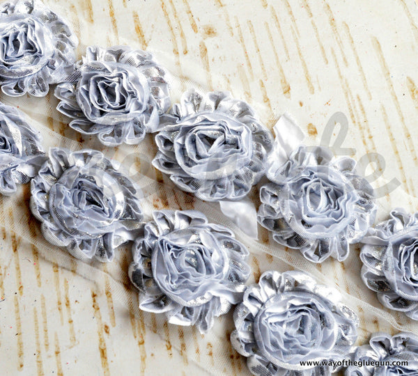 Metallic Shabby Rose Trim - By the Yard - Silver