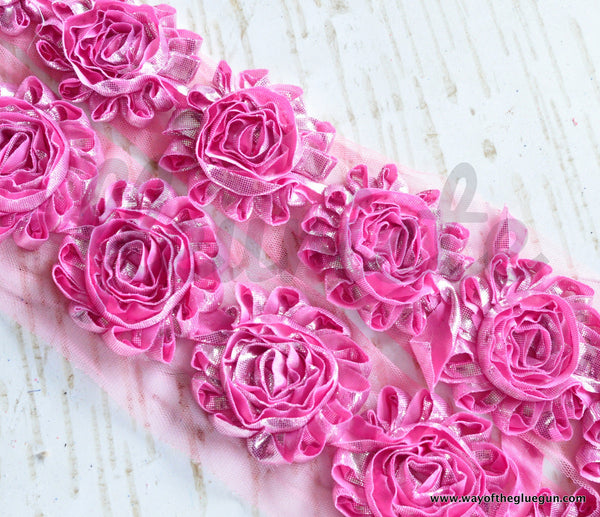 Metallic Shabby Rose Trim - By the Yard - Pink/Silver