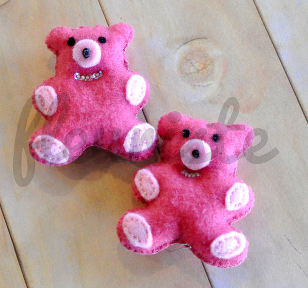 Padded Teddybear Felt Appliques - Pick Your Color