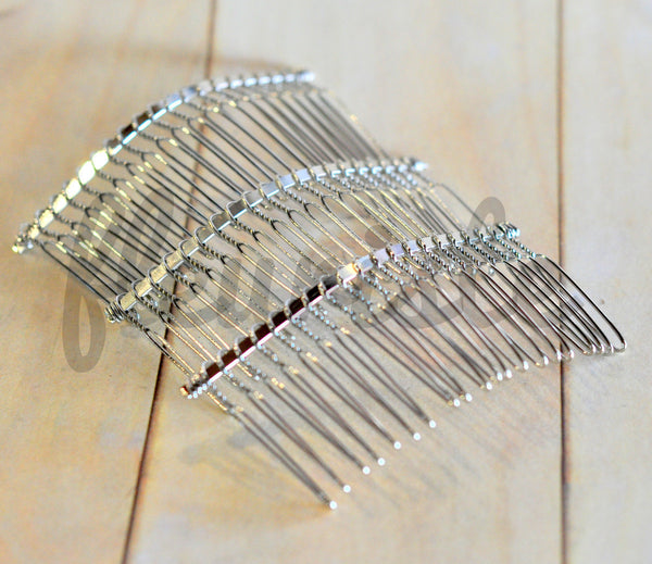 80mm Silver Metal Hair Combs-Single Comb