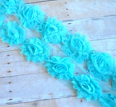 Petite Solid Shabby Rose Trim-Light Turquoise