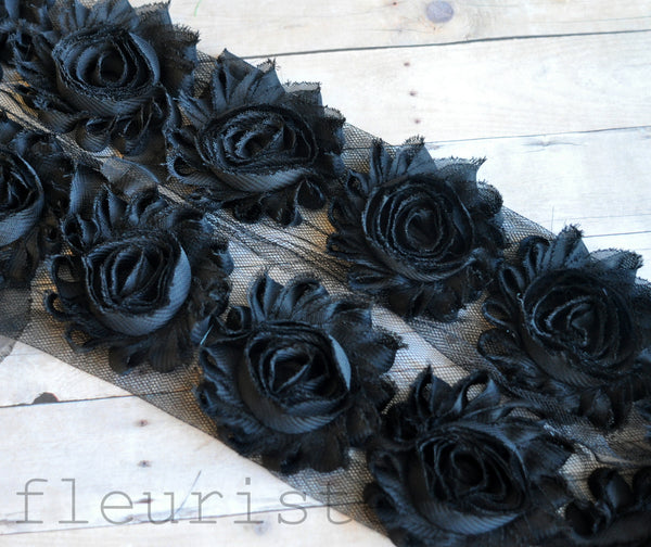 Solid Shabby Rose Trim-Black