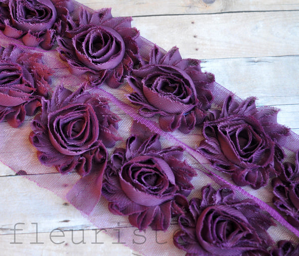 Solid Shabby Rose Trim-Plum Purple