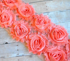 Solid Shabby Rose Trim-Peach Coral