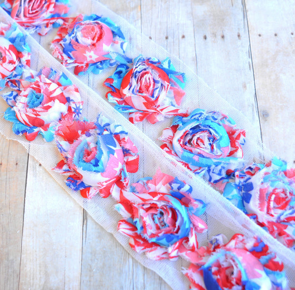 Patterned Shabby Trim-Patriotic Pastels