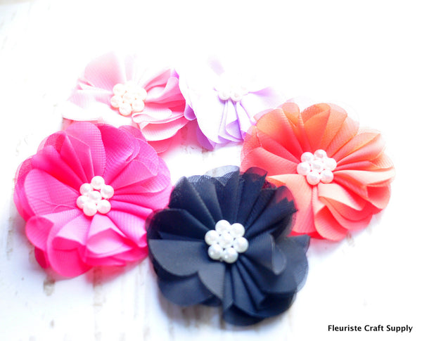 Pearl Centered Chiffon Flower - Pick Your Color