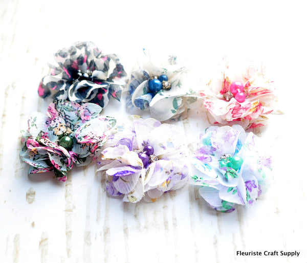 *NEW PATTERNS 8/30!* Patterned Petite Chiffon Flowers-Pick Your Color