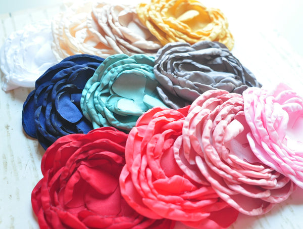 Singed Satin Flowers - Solid Color