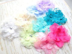 Jewel Center Lace Flowers - Pick Your Color