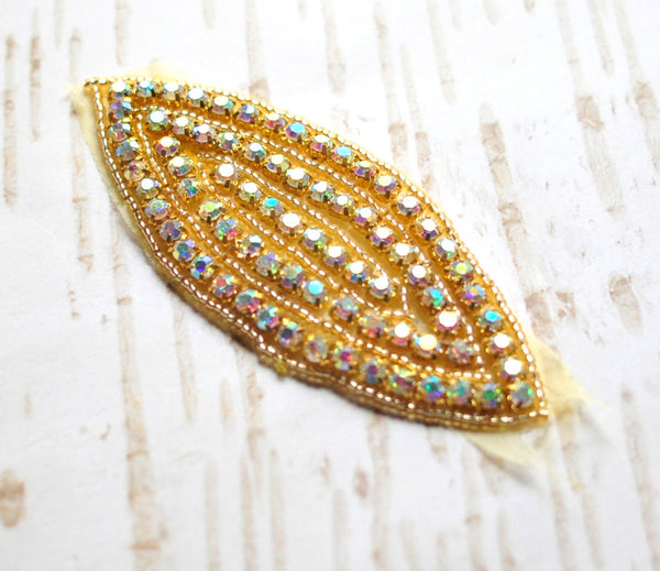 Beaded Bridal Applique-Single Applique-Gold Oval