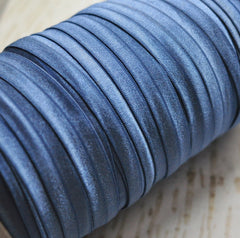 "Solid 5/8"" Foldover Elastic by the Yard-Light Navy"