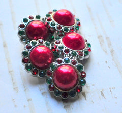 23mm Christmas Pearl Buttons - Red and Green