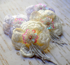 Beaded Lotus Flower - Ivory or White