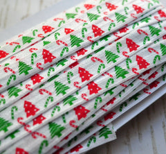 "Christmas Fold Over Elastic-5/8"" Width-Christmas Trees & Candy Canes"