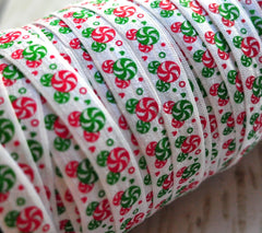 "Christmas Fold Over Elastic-5/8"" Width-Peppermints"