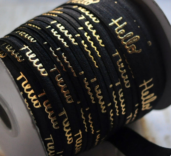 Metallic Printed Foldover Elastic- Gold Hello on Black